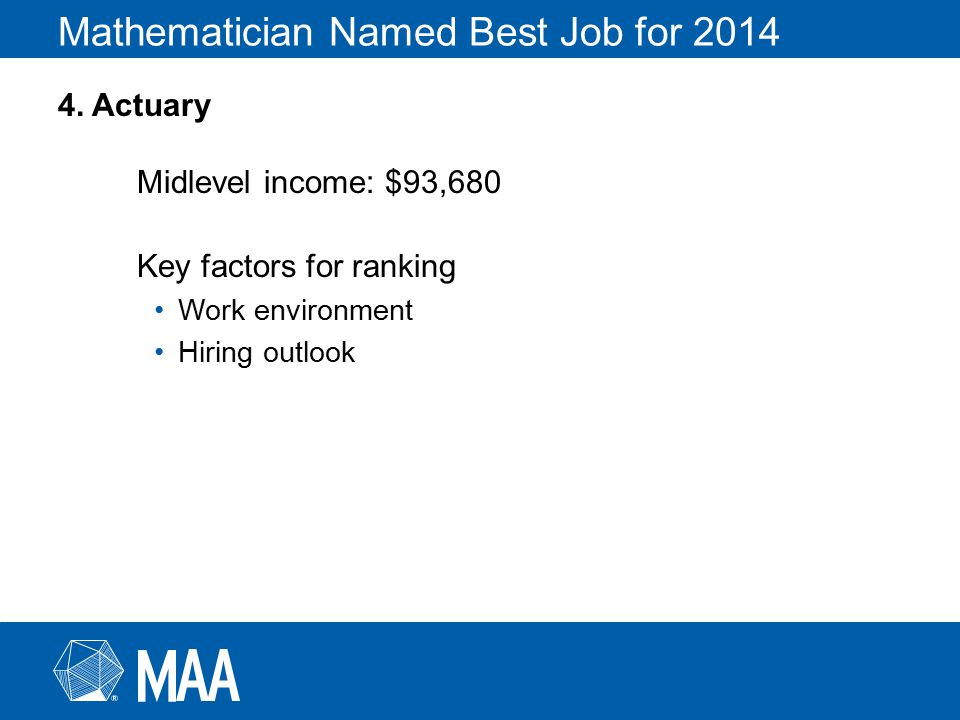 Mathematician Named Best Job for 2014 4.