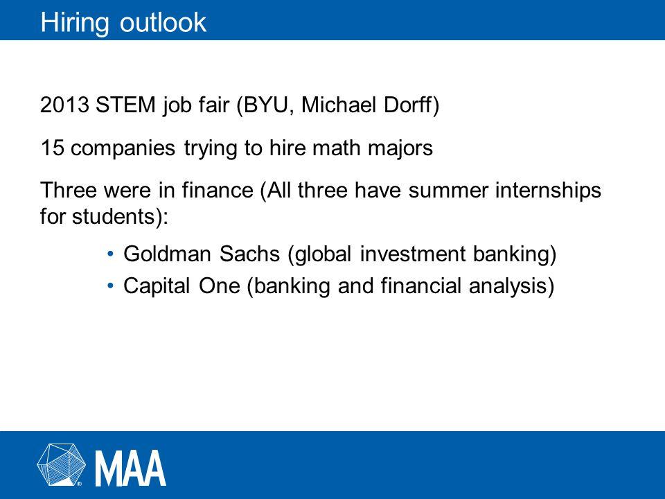 Hiring outlook 2013 STEM job fair (BYU, Michael Dorff) 15 companies trying to hire math majors Three were in finance (All three have summer internship