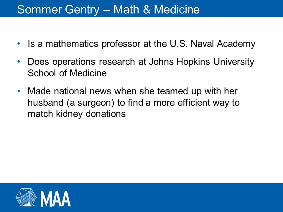 Sommer Gentry – Math & Medicine Is a mathematics professor at the U.S.