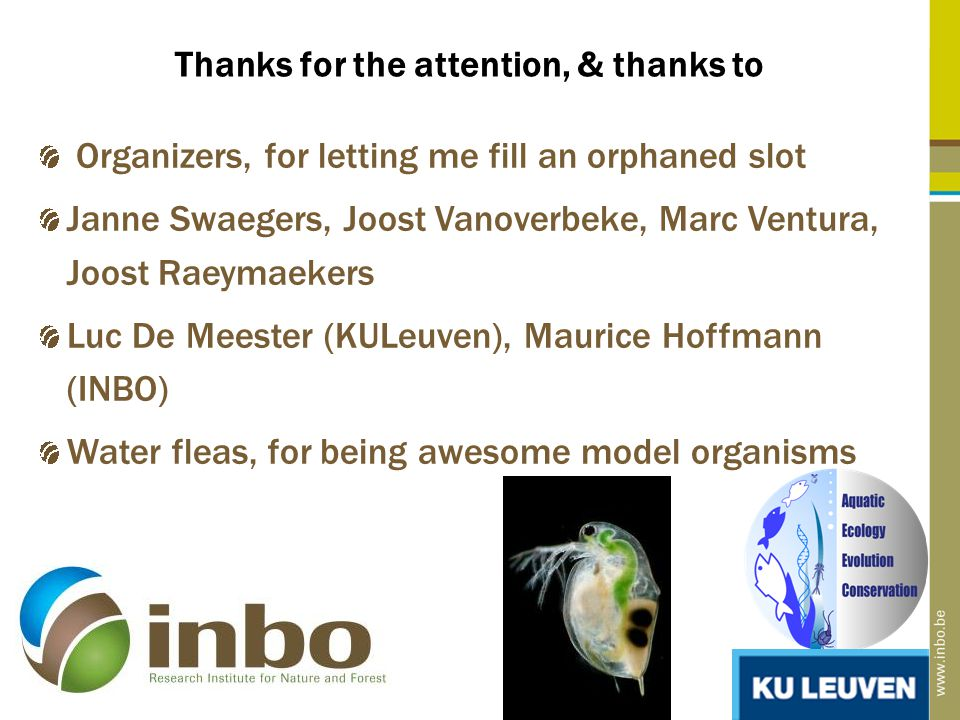 Thanks for the attention, & thanks to 30 Organizers, for letting me fill an orphaned slot Janne Swaegers, Joost Vanoverbeke, Marc Ventura, Joost Raeymaekers Luc De Meester (KULeuven), Maurice Hoffmann (INBO) Water fleas, for being awesome model organisms