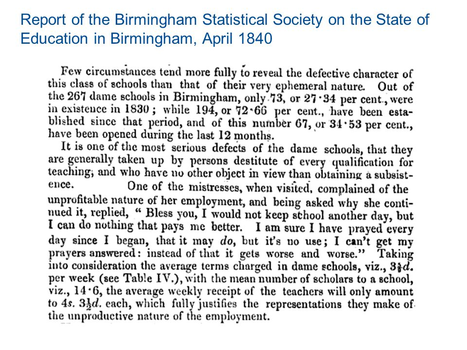 Report of the Birmingham Statistical Society on the State of Education in Birmingham, April 1840