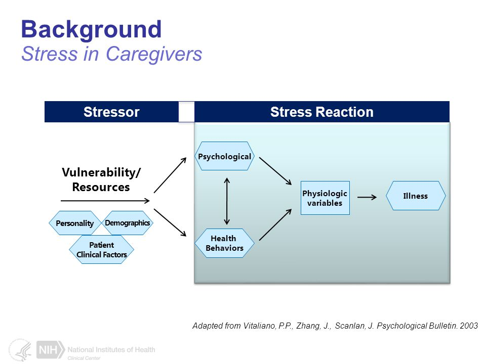 Background Stress in Caregivers Adapted from Vitaliano, P.P., Zhang, J., Scanlan, J.