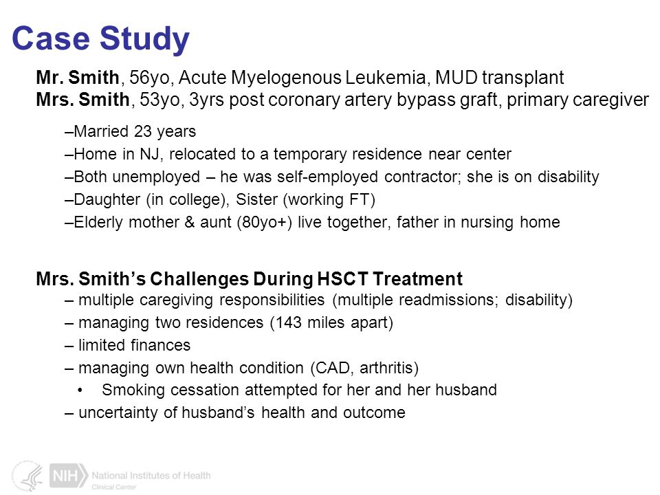 Case Study Mr. Smith, 56yo, Acute Myelogenous Leukemia, MUD transplant Mrs.