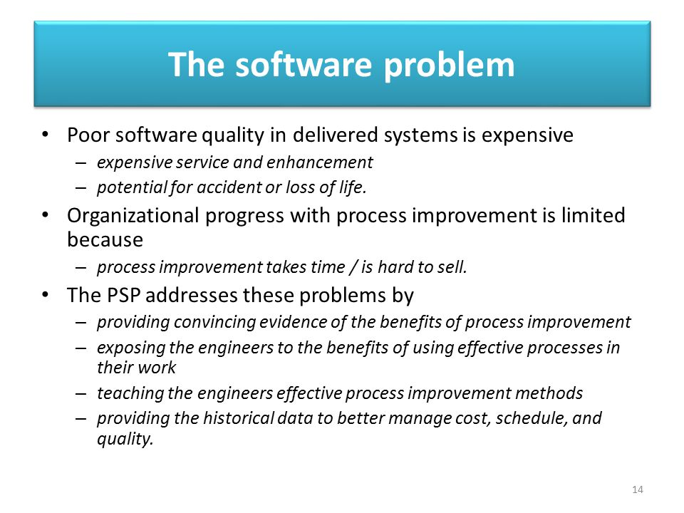 The software problem Poor software quality in delivered systems is expensive – expensive service and enhancement – potential for accident or loss of l