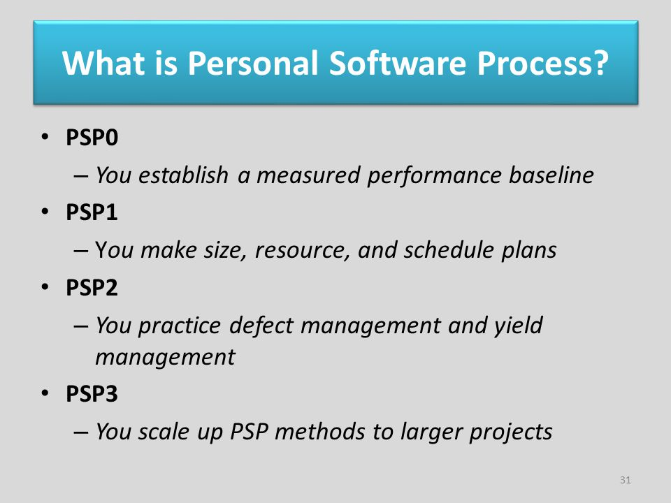 What is Personal Software Process? PSP0 – You establish a measured performance baseline PSP1 – You make size, resource, and schedule plans PSP2 – You