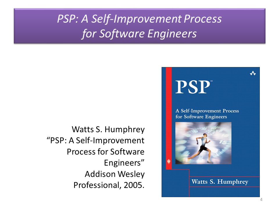 """PSP: A Self-Improvement Process for Software Engineers 4 Watts S. Humphrey """"PSP: A Self-Improvement Process for Software Engineers"""" Addison Wesley Pro"""