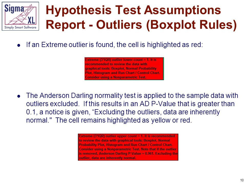 10 If an Extreme outlier is found, the cell is highlighted as red: The Anderson Darling normality test is applied to the sample data with outliers excluded.