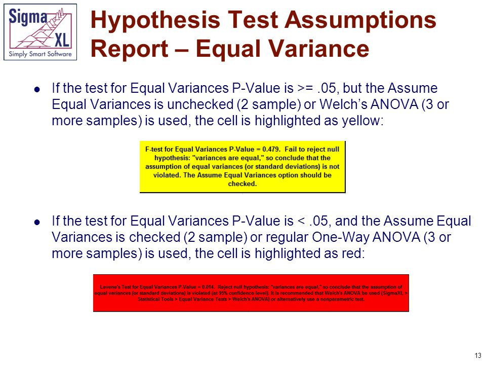 13 If the test for Equal Variances P-Value is >=.05, but the Assume Equal Variances is unchecked (2 sample) or Welch's ANOVA (3 or more samples) is us