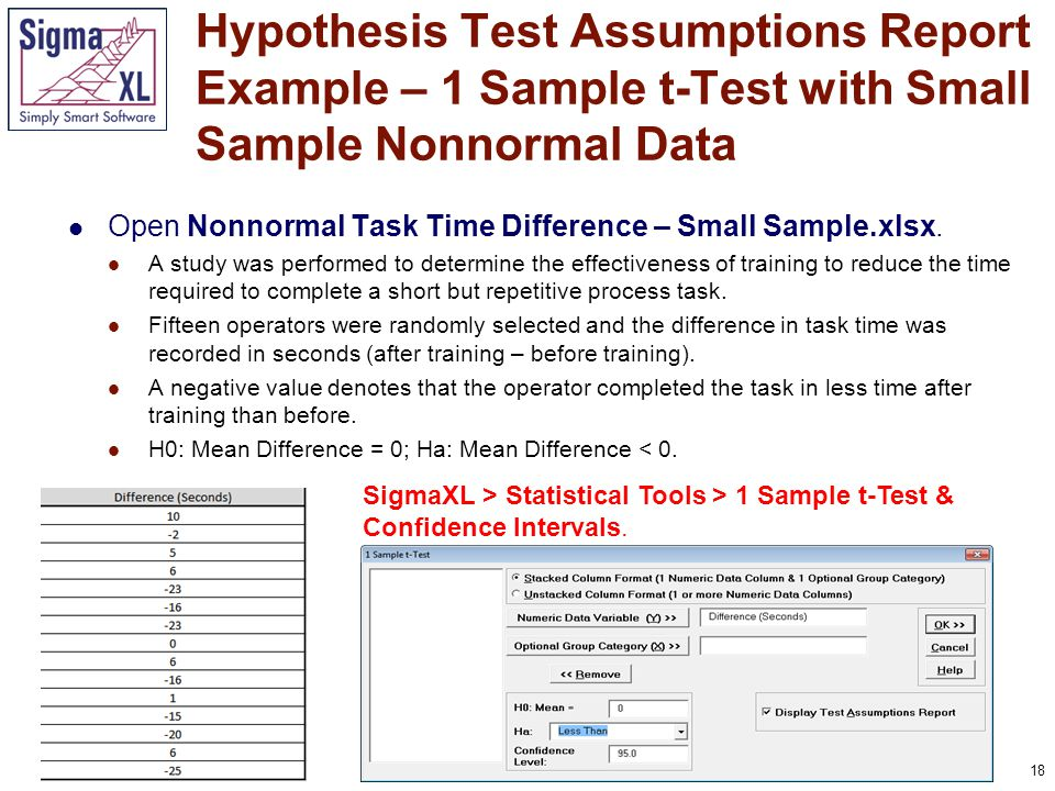 18 Open Nonnormal Task Time Difference – Small Sample.xlsx. A study was performed to determine the effectiveness of training to reduce the time requir
