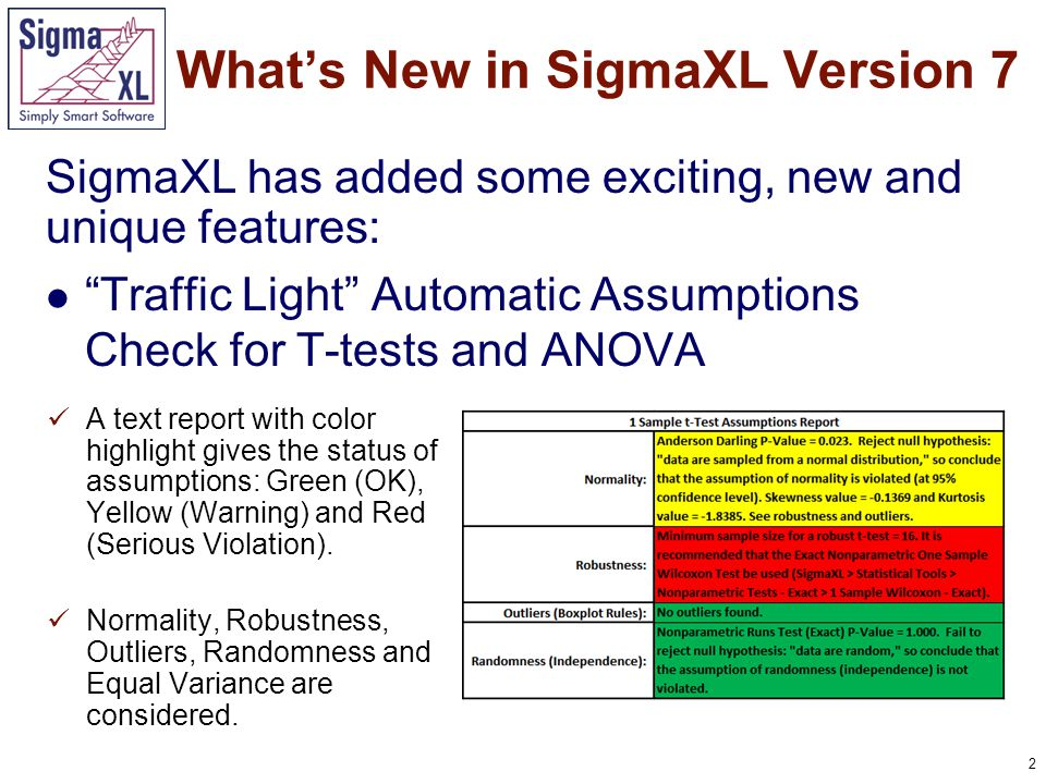 2 SigmaXL has added some exciting, new and unique features: Traffic Light Automatic Assumptions Check for T-tests and ANOVA What's New in SigmaXL Version 7 A text report with color highlight gives the status of assumptions: Green (OK), Yellow (Warning) and Red (Serious Violation).