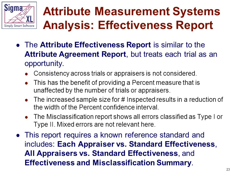 23 The Attribute Effectiveness Report is similar to the Attribute Agreement Report, but treats each trial as an opportunity.