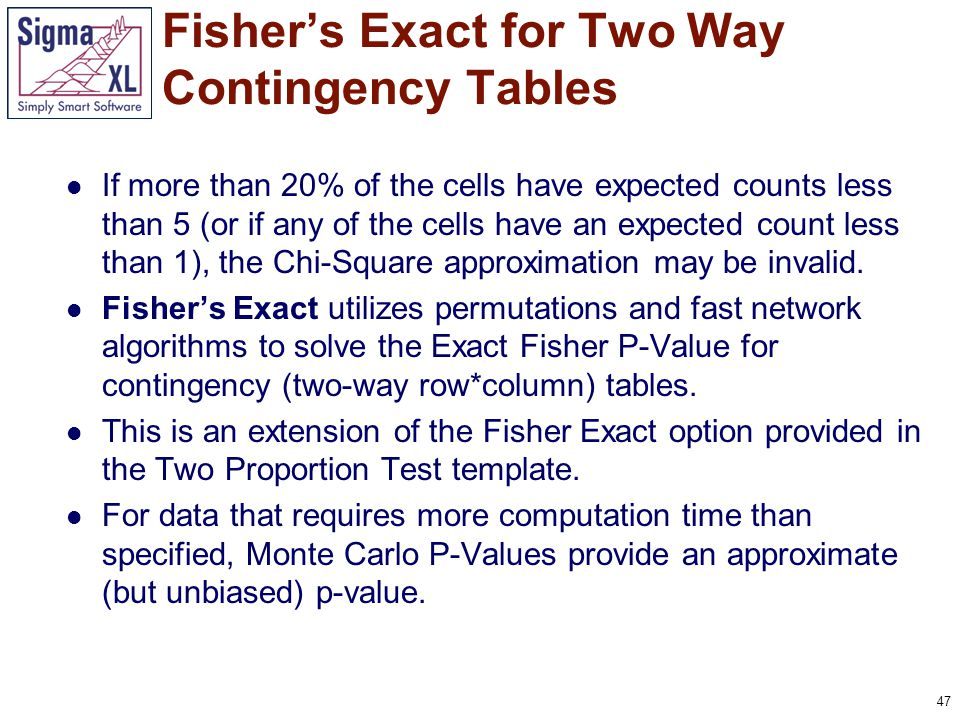 47 If more than 20% of the cells have expected counts less than 5 (or if any of the cells have an expected count less than 1), the Chi-Square approxim