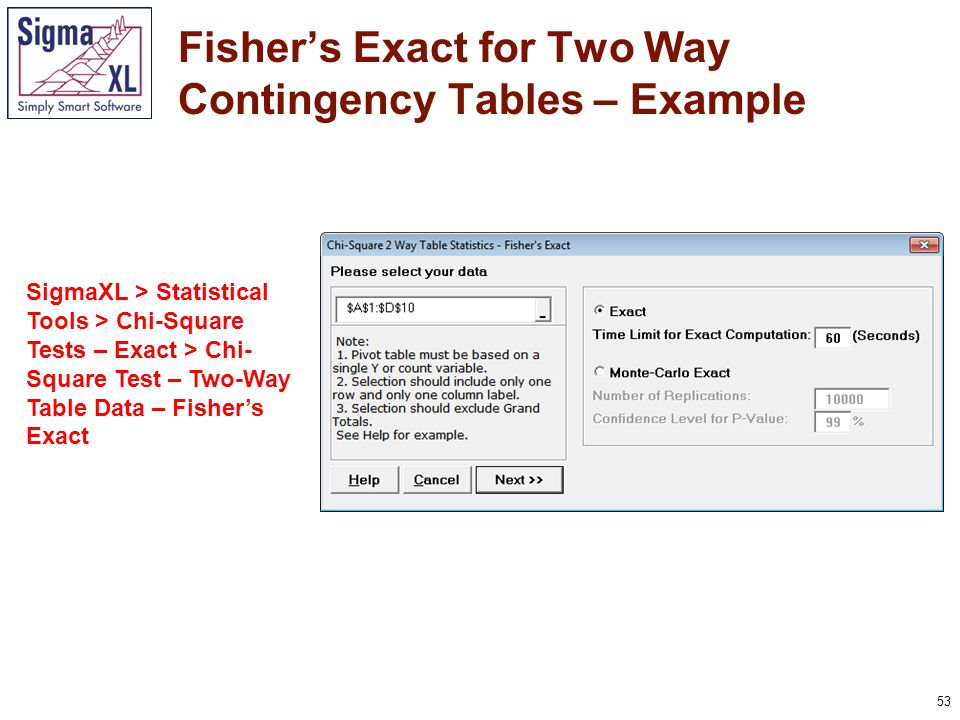 53 Fisher's Exact for Two Way Contingency Tables – Example SigmaXL > Statistical Tools > Chi-Square Tests – Exact > Chi- Square Test – Two-Way Table Data – Fisher's Exact