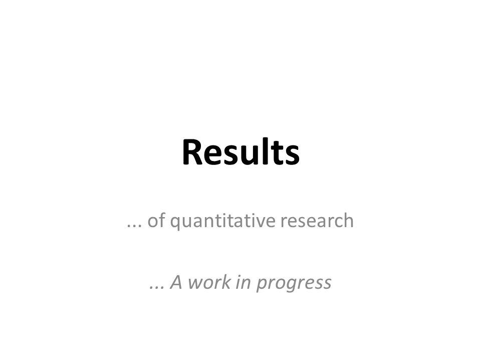 Results... of quantitative research... A work in progress