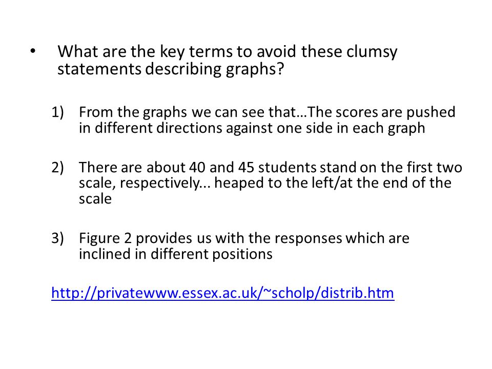 What are the key terms to avoid these clumsy statements describing graphs.