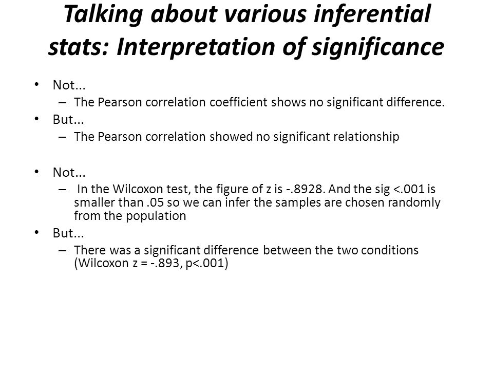 Talking about various inferential stats: Interpretation of significance Not... – The Pearson correlation coefficient shows no significant difference.