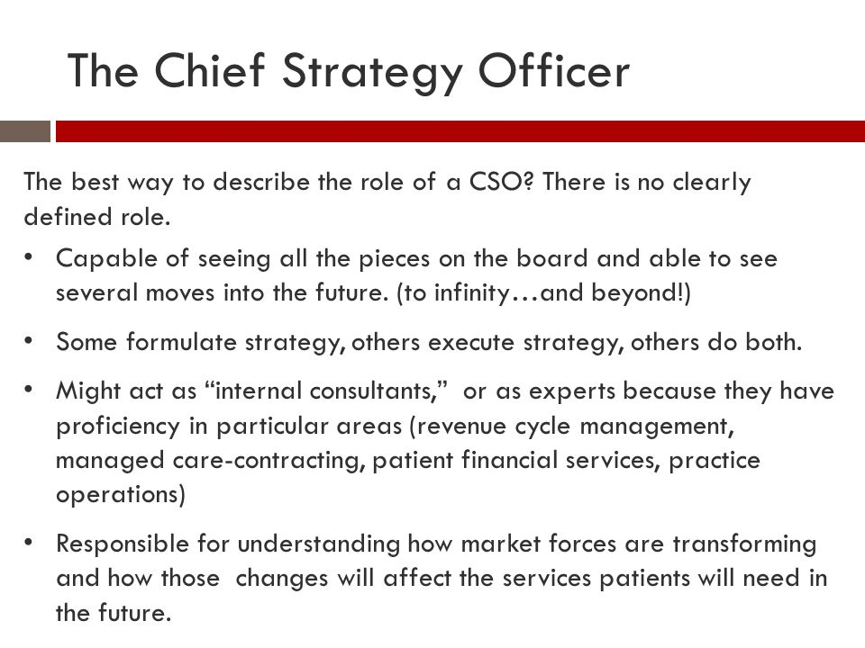 The Chief Strategy Officer The best way to describe the role of a CSO? There is no clearly defined role. Capable of seeing all the pieces on the board