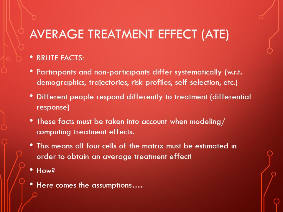 AVERAGE TREATMENT EFFECT (ATE) BRUTE FACTS: Participants and non-participants differ systematically (w.r.t.
