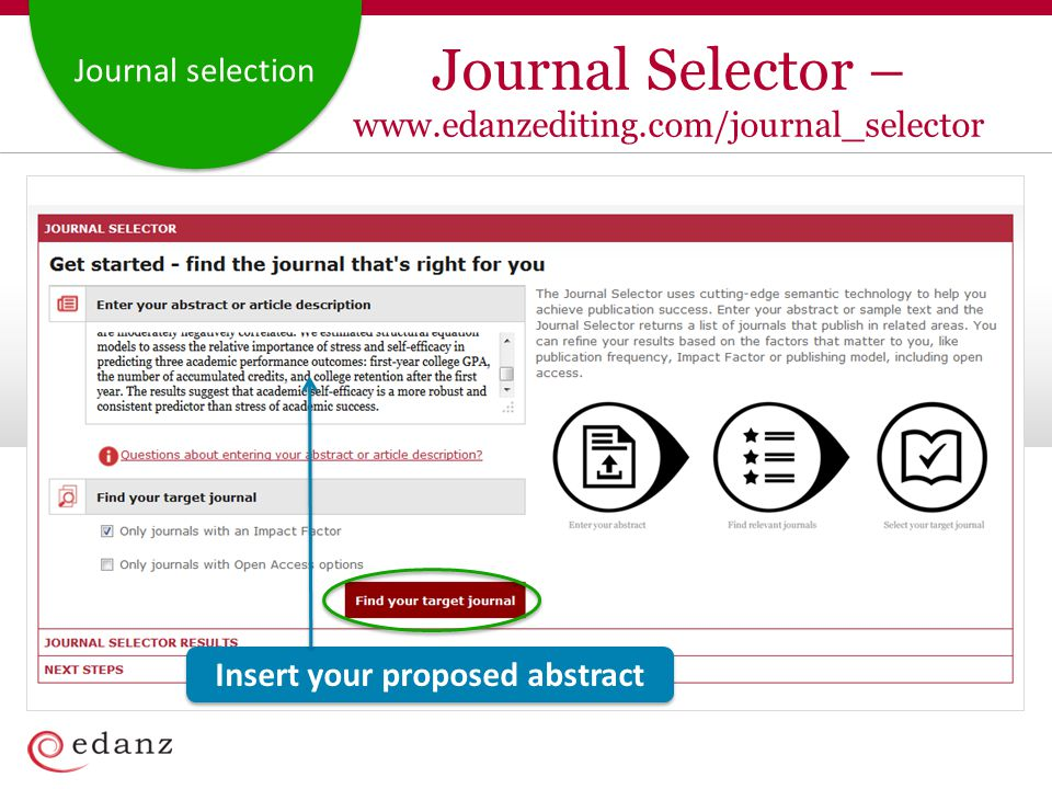 Journal selection Insert your proposed abstract Journal Selector – www.edanzediting.com/journal_selector