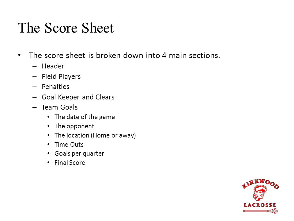 The Score Sheet The score sheet is broken down into 4 main sections. – Header – Field Players – Penalties – Goal Keeper and Clears – Team Goals The da