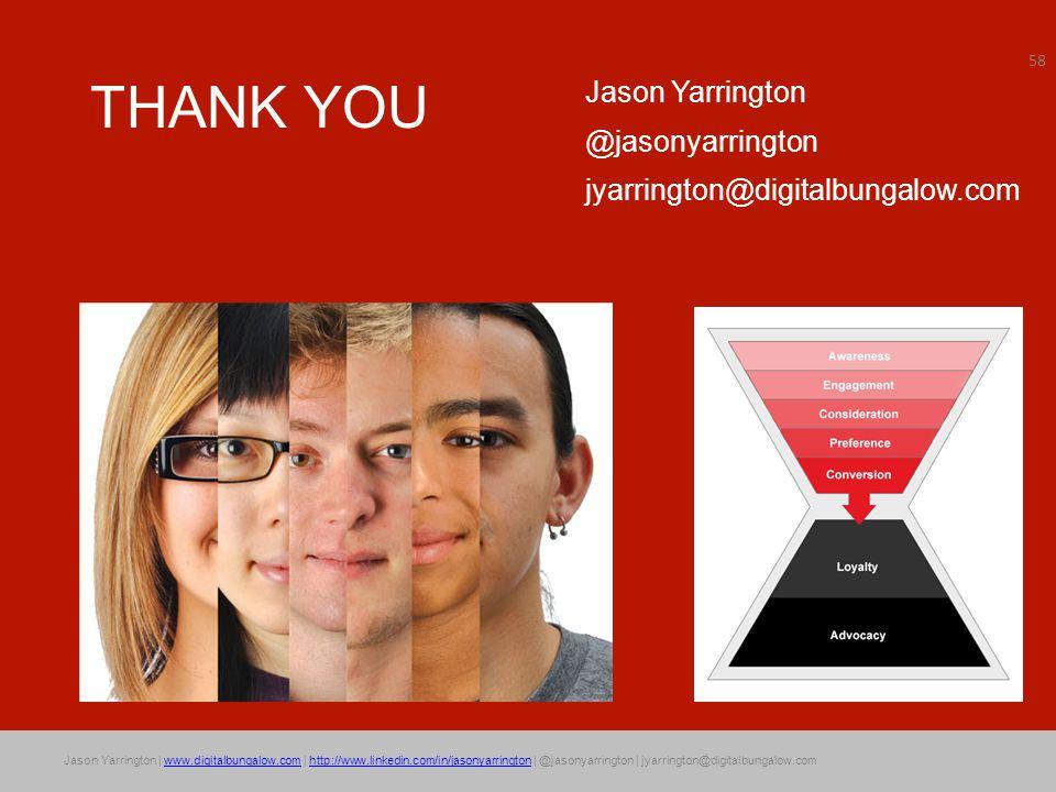 Jason Yarrington | www.digitalbungalow.com | http://www.linkedin.com/in/jasonyarrington | @jasonyarrington | jyarrington@digitalbungalow.comwww.digitalbungalow.comhttp://www.linkedin.com/in/jasonyarrington THANK YOU Jason Yarrington @jasonyarrington jyarrington@digitalbungalow.com 58