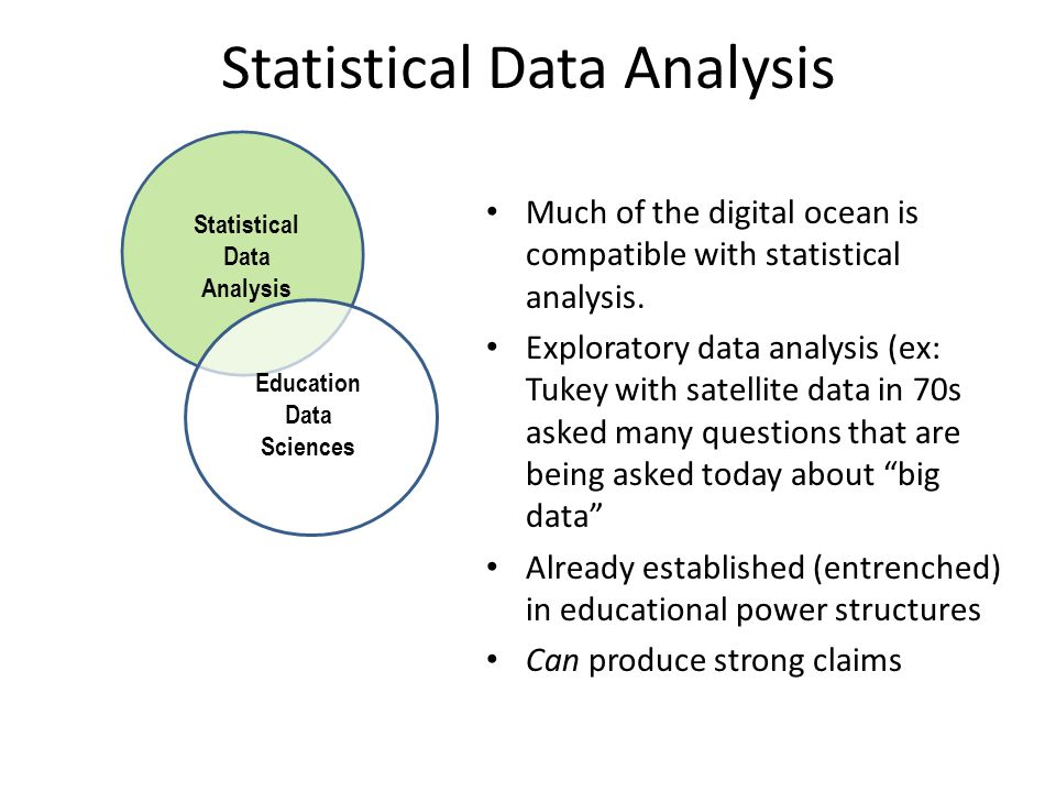 Statistical Data Analysis Education Data Sciences Much of the digital ocean is compatible with statistical analysis.