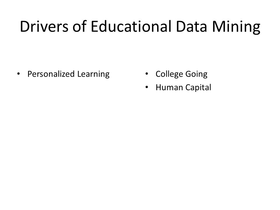 Drivers of Educational Data Mining Personalized Learning College Going Human Capital