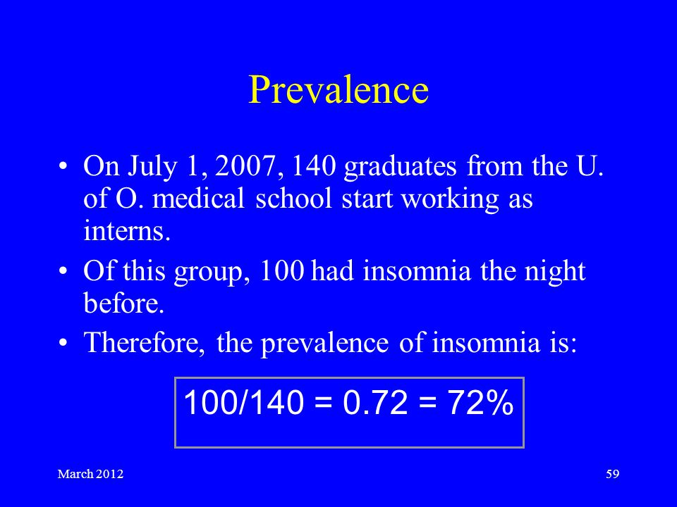 March 201259 Prevalence On July 1, 2007, 140 graduates from the U.