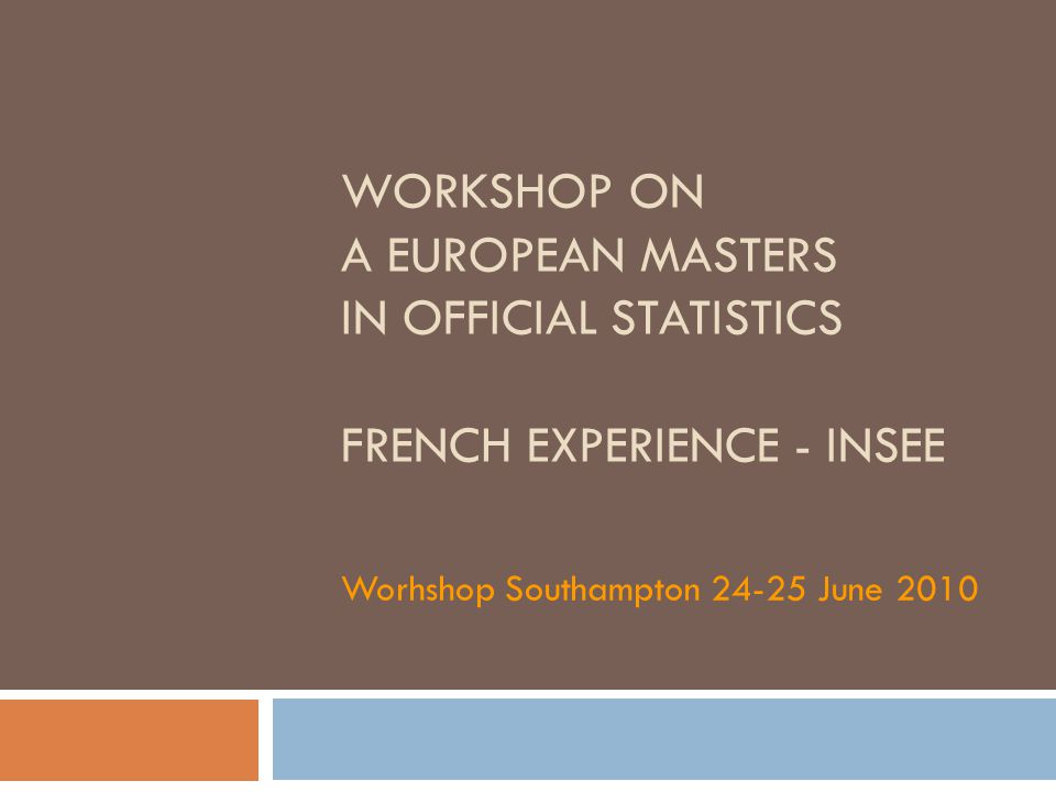 WORKSHOP ON A EUROPEAN MASTERS IN OFFICIAL STATISTICS FRENCH EXPERIENCE - INSEE Worhshop Southampton 24-25 June 2010