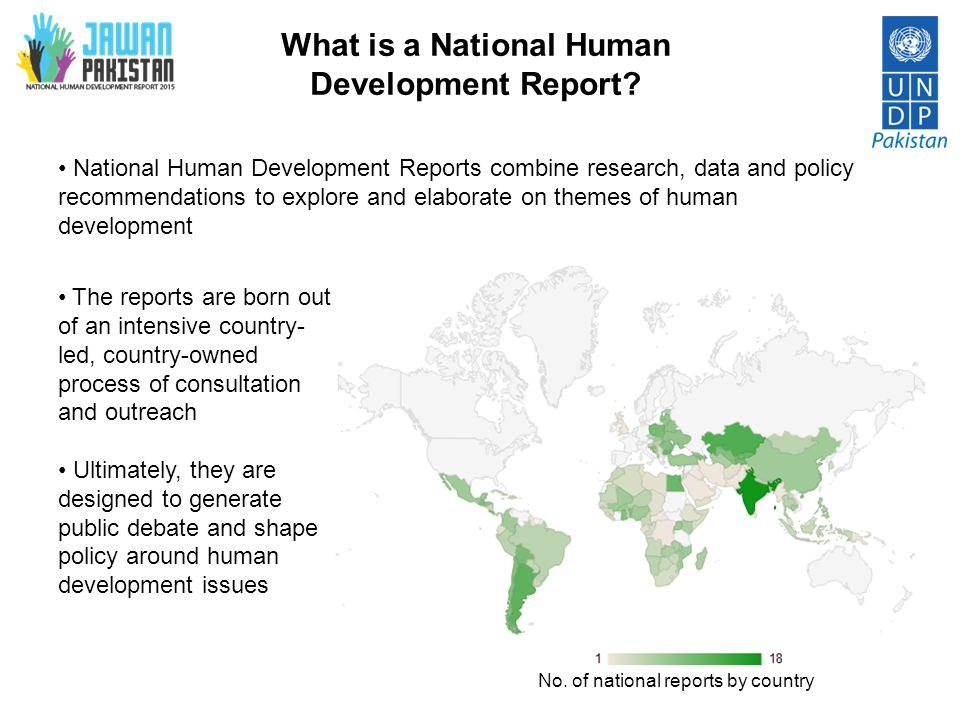 NHDRs in Pakistan  The NHDR has Pakistani roots:  The very first global report was produced by the Pakistani economist Mahbub ul Haq in 1990  Since then, more than 700 national and sub-national HDRs have been produced by 135 countries  However, Pakistan has only formally published one NHDR in 2003.