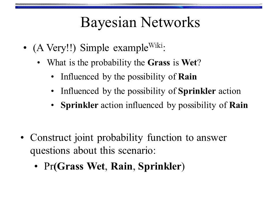 Bayesian Networks Sprinkler:was on was off Rain:yesnoyesno Grass Wet:yes99%90%80%0% no1%10%80%100% Rain:yesno Sprinkler :was on40%1% was off60%99% Rain:yes20% no80% Pr(Sprinkler | Rain) Pr(Rain) Pr(Grass Wet | Rain, Sprinkler)