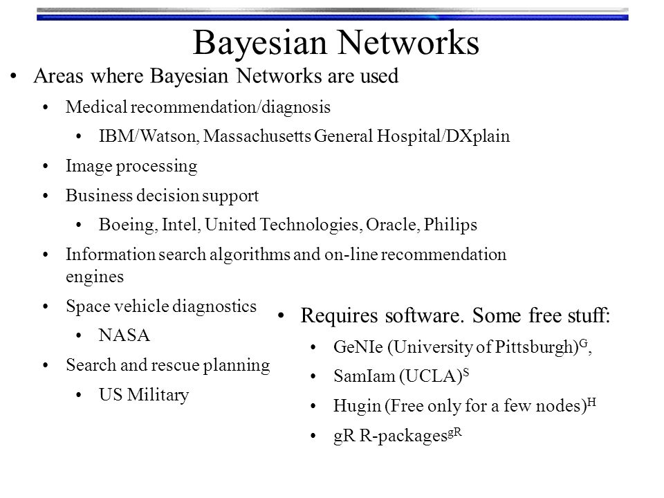 Bayesian Networks Areas where Bayesian Networks are used Medical recommendation/diagnosis IBM/Watson, Massachusetts General Hospital/DXplain Image pro