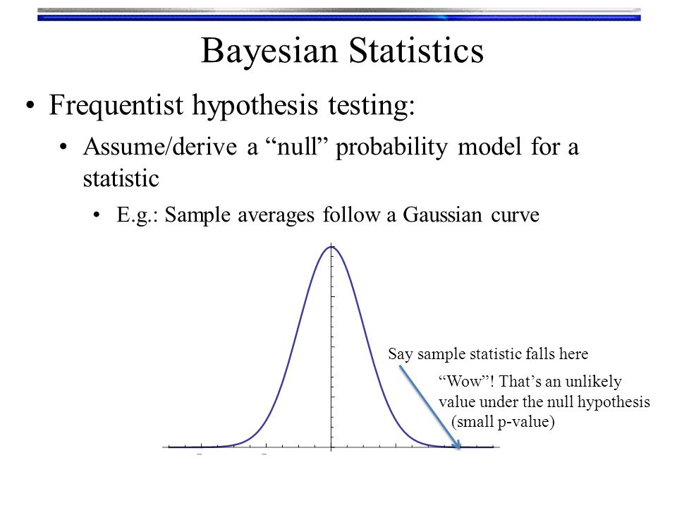 Bayesian Statistics Bayesian hypothesis testing: Assume/derive a null probability model for a statistic Assume an alternative probability model p(x|null) p(x|alt) Say sample statistic falls here