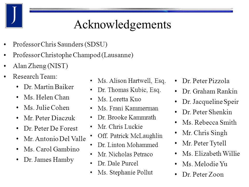 Acknowledgements Professor Chris Saunders (SDSU) Professor Christophe Champod (Lausanne) Alan Zheng (NIST) Research Team: Dr. Martin Baiker Ms. Helen
