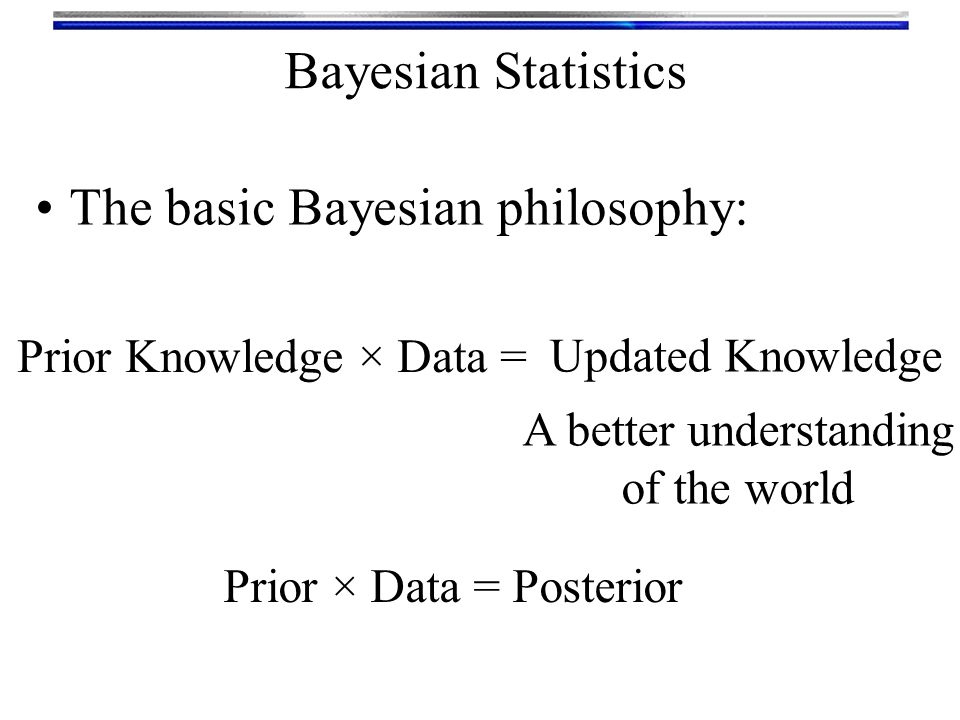Bayesian Statistics Bayesian-ism can be a lot like a religion Different sects of (dogmatic) Bayesians don't believe other sects are true Bayesians The major Bayesian churches Parametric BUGS (Bayesian Using Gibbs Sampling) MCMC (Markov-Chain Monte Carlo) Andrew Gelman (Columbia) David Speigelhalter (Cambridge) Bayes Nets Graphical Models Steffan Lauritzen (Oxford) Judea Pearl (UCLA) Empirical Bayes Data-driven Brad Efron (Stanford)