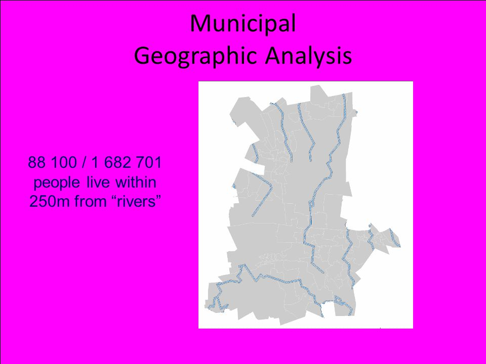 Municipal Geographic Analysis 88 100 / 1 682 701 people live within 250m from rivers