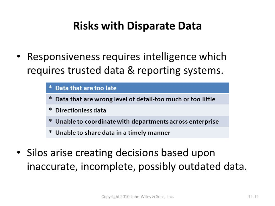 Risks with Disparate Data Responsiveness requires intelligence which requires trusted data & reporting systems. Silos arise creating decisions based u