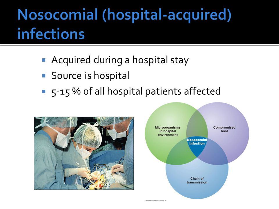  Acquired during a hospital stay  Source is hospital  5-15 % of all hospital patients affected