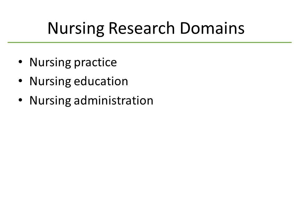 Nursing Research Domains Nursing practice Nursing education Nursing administration