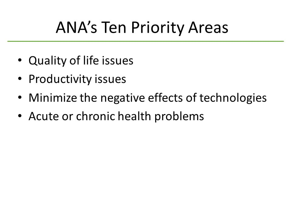 ANA's Ten Priority Areas Quality of life issues Productivity issues Minimize the negative effects of technologies Acute or chronic health problems