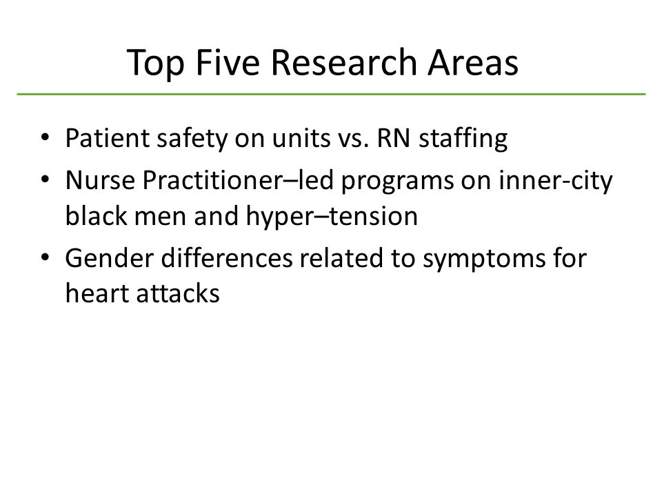 Top Five Research Areas Patient safety on units vs.