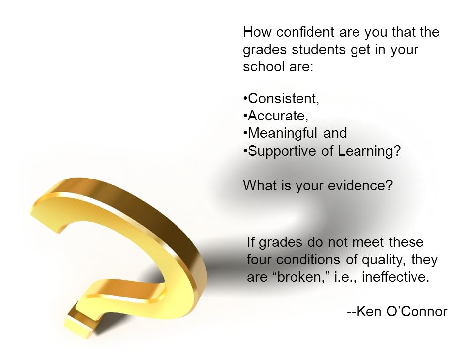 How confident are you that the grades students get in your school are: Consistent, Accurate, Meaningful and Supportive of Learning.