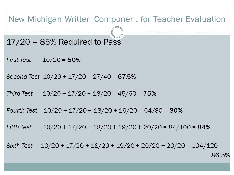 New Michigan Written Component for Teacher Evaluation 17/20 = 85% Required to Pass First Test 10/20 = 50% Second Test 10/20 + 17/20 = 27/40 = 67.5% Third Test 10/20 + 17/20 + 18/20 = 45/60 = 75% Fourth Test 10/20 + 17/20 + 18/20 + 19/20 = 64/80 = 80% Fifth Test 10/20 + 17/20 + 18/20 + 19/20 + 20/20 = 84/100 = 84% Sixth Test 10/20 + 17/20 + 18/20 + 19/20 + 20/20 + 20/20 = 104/120 = 86.5%