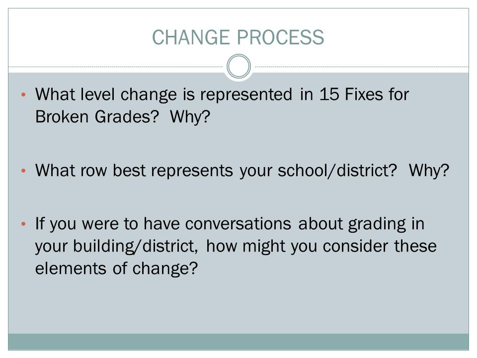 CHANGE PROCESS What level change is represented in 15 Fixes for Broken Grades.