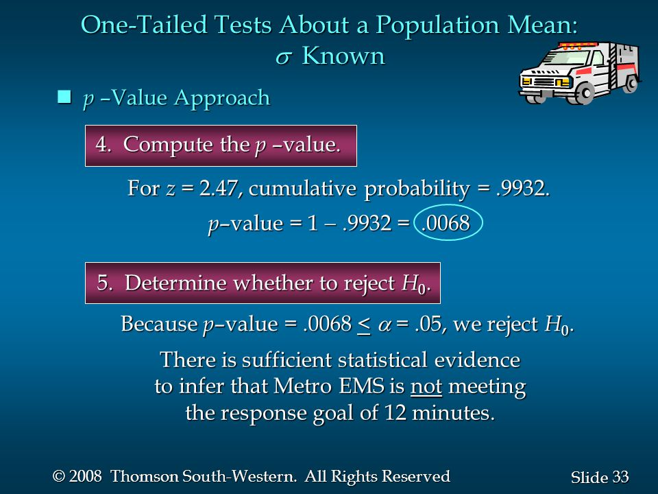 33 Slide © 2008 Thomson South-Western. All Rights Reserved 5. Determine whether to reject H 0. p –Value Approach p –Value Approach One-Tailed Tests Ab
