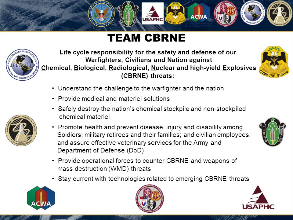 TEAM CBRNE: WORLD CLASS VISION The Nation's preeminent source of CBRNE Defense capabilities.