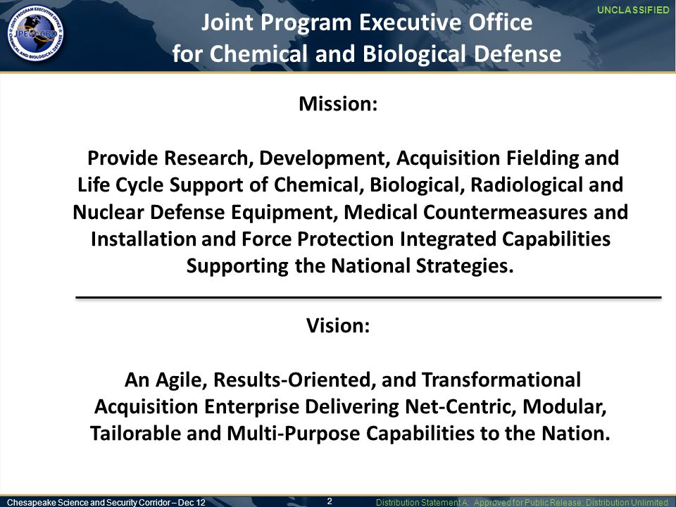 UNCLASSIFIED Joint Program Executive Office for Chemical and Biological Defense Chesapeake Science and Security Corridor – Dec 12 Distribution Statement A: Approved for Public Release; Distribution Unlimited 3