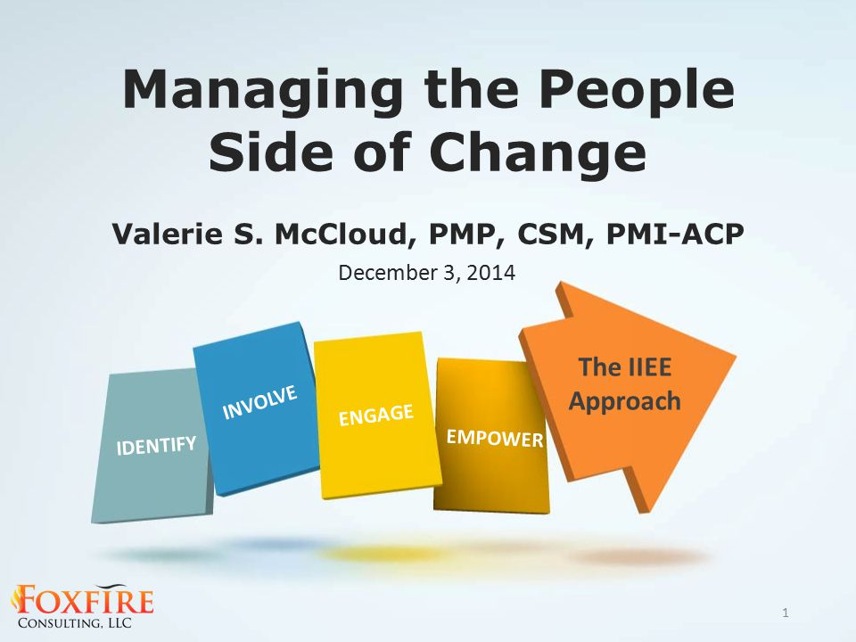 Managing the People Side of Change Valerie S. McCloud, PMP, CSM, PMI-ACP The IIEE Approach IDENTIFY INVOLVE ENGAGE EMPOWER December 3, 2014 1