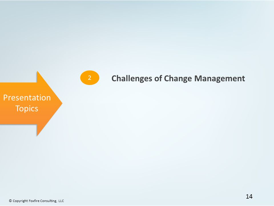Presentation Topics 2 Challenges of Change Management © Copyright Foxfire Consulting, LLC 14