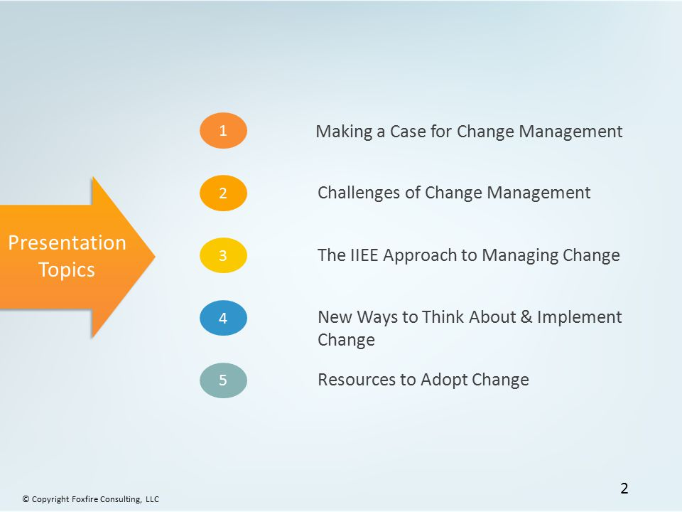 Presentation Topics 1 2 3 4 5 Making a Case for Change Management Challenges of Change Management The IIEE Approach to Managing Change New Ways to Think About & Implement Change Resources to Adopt Change © Copyright Foxfire Consulting, LLC 2